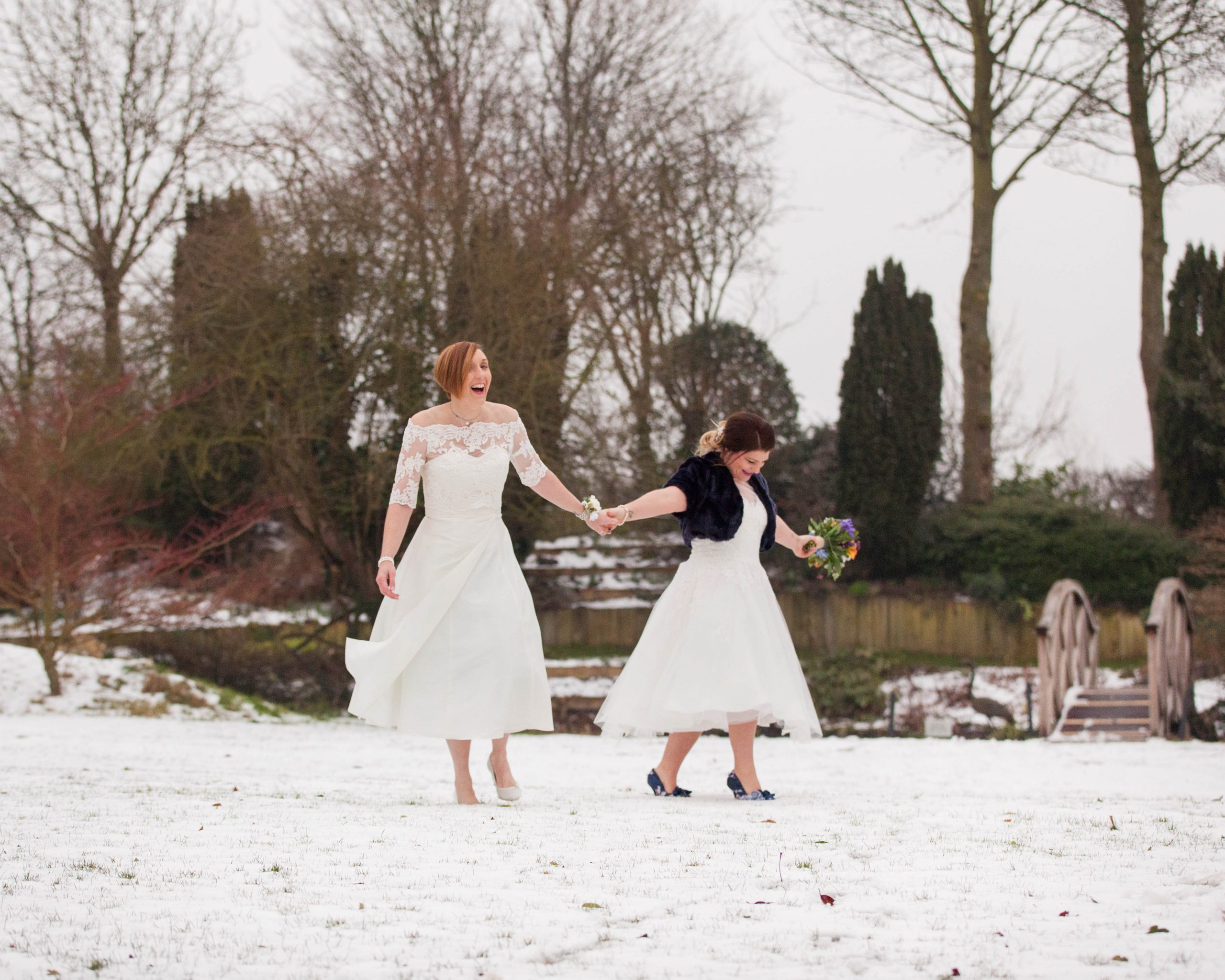 lovely Gay brides winter wedding photography