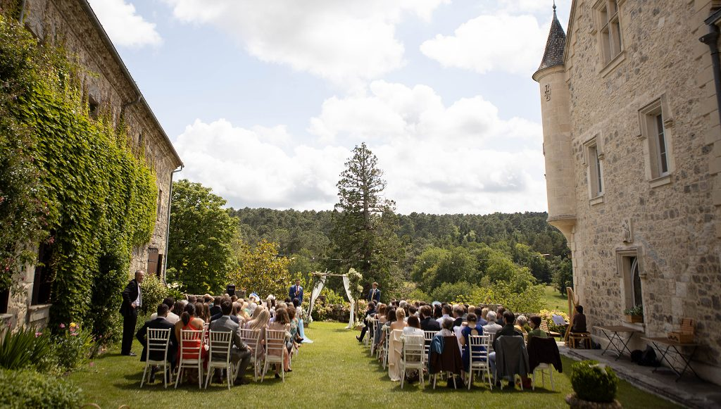 chateau wedding outdoor ceremony celebrant wedding