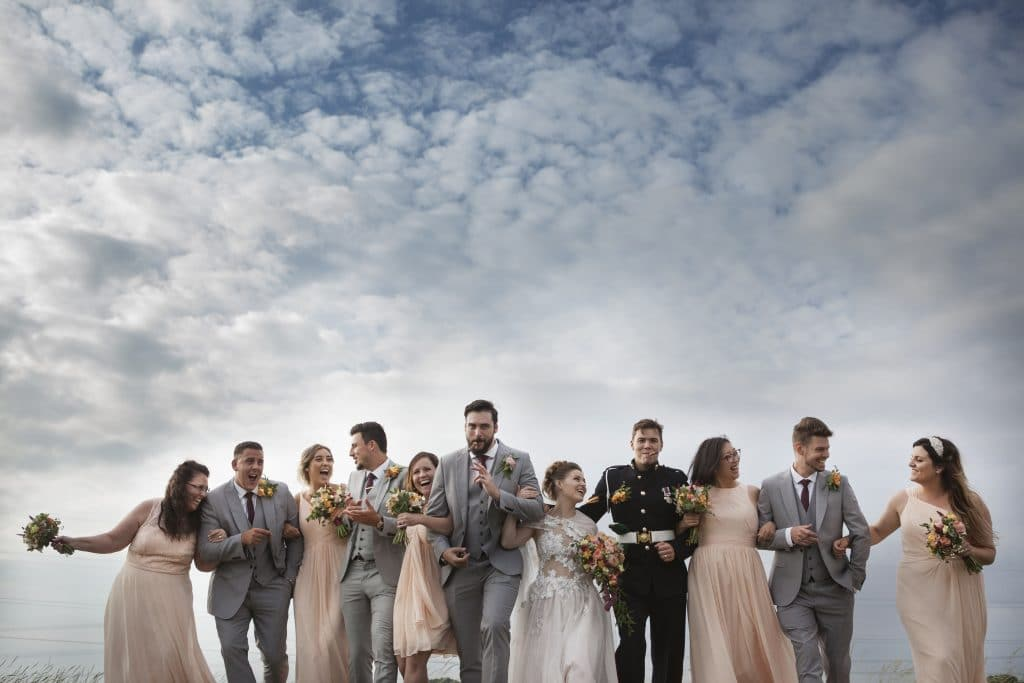 real barn wedding party well dressed character natural shot
