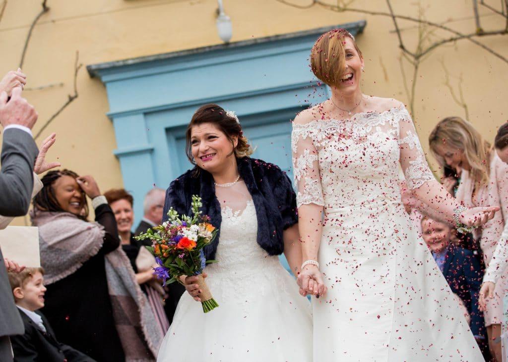 Brides real winter wedding confetti