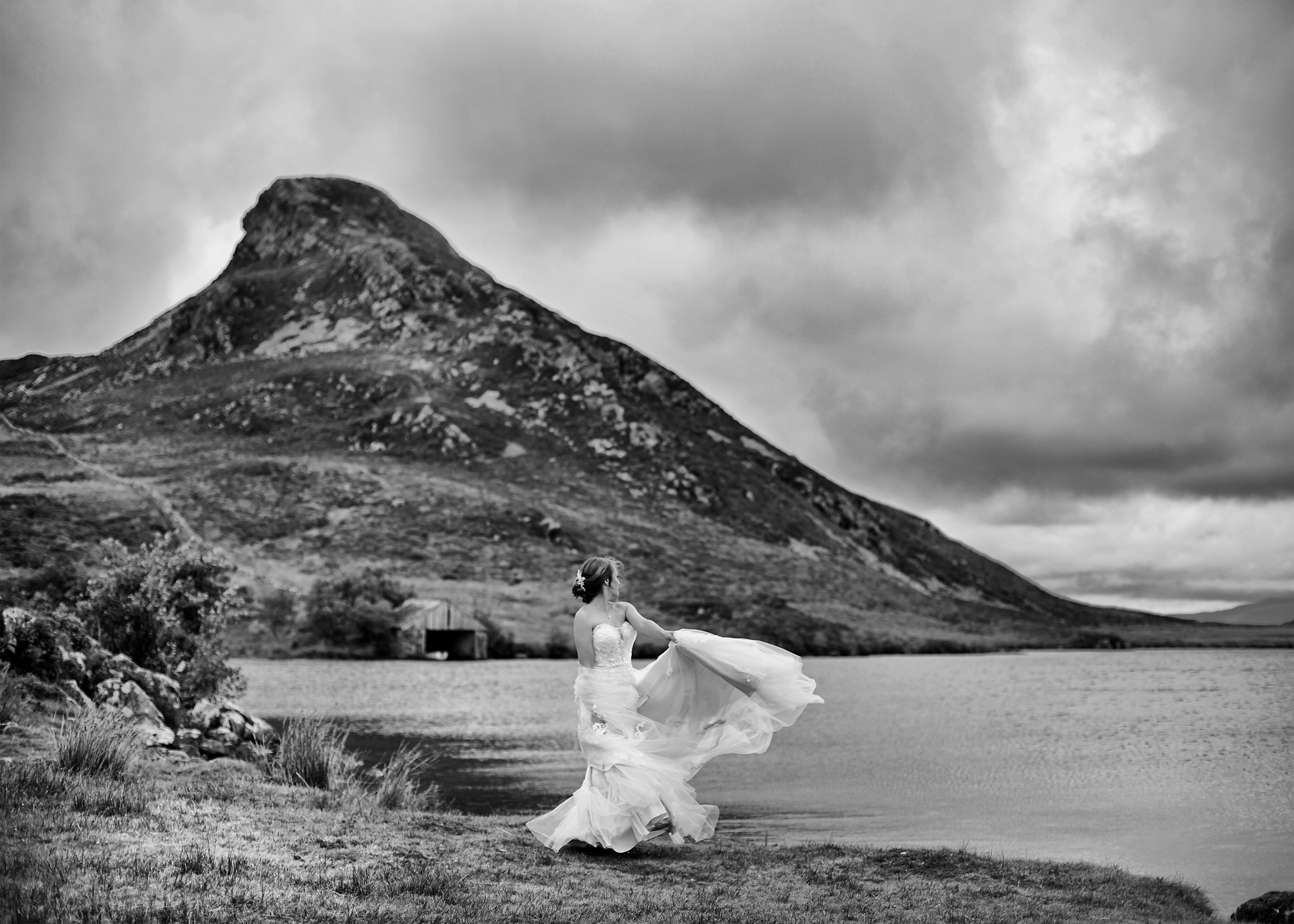Destination wedding photograph of lakes and mountains