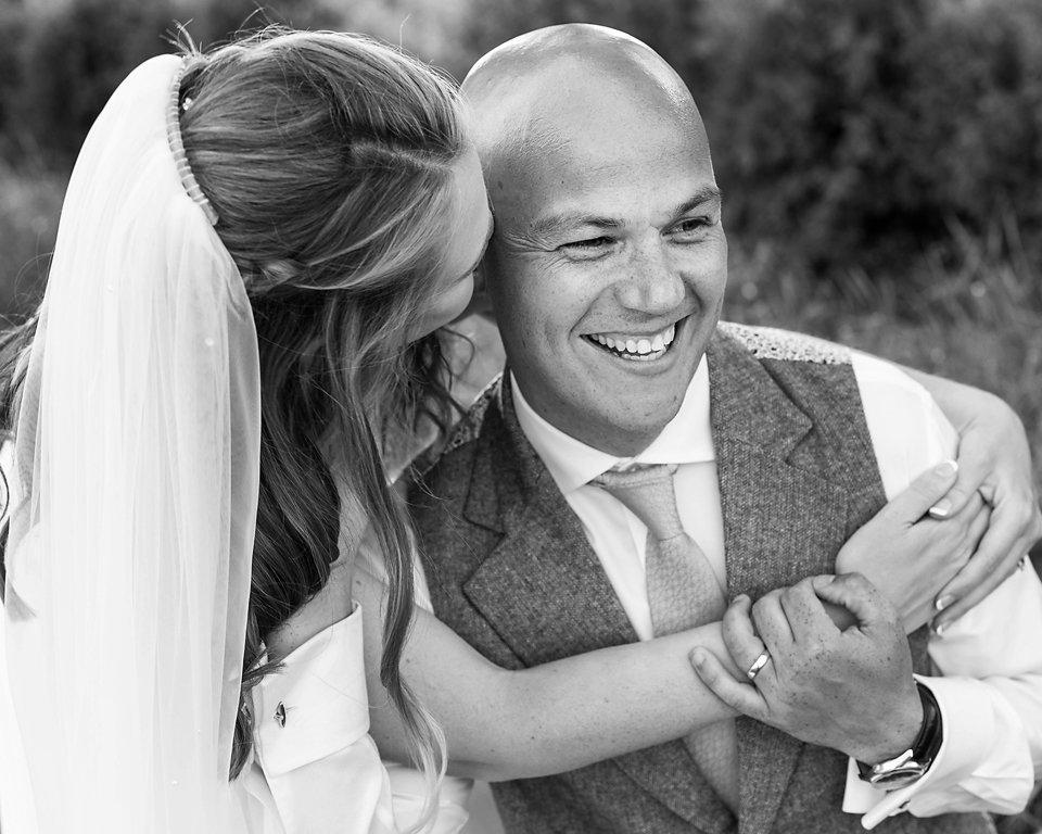 Natural moment bride groom