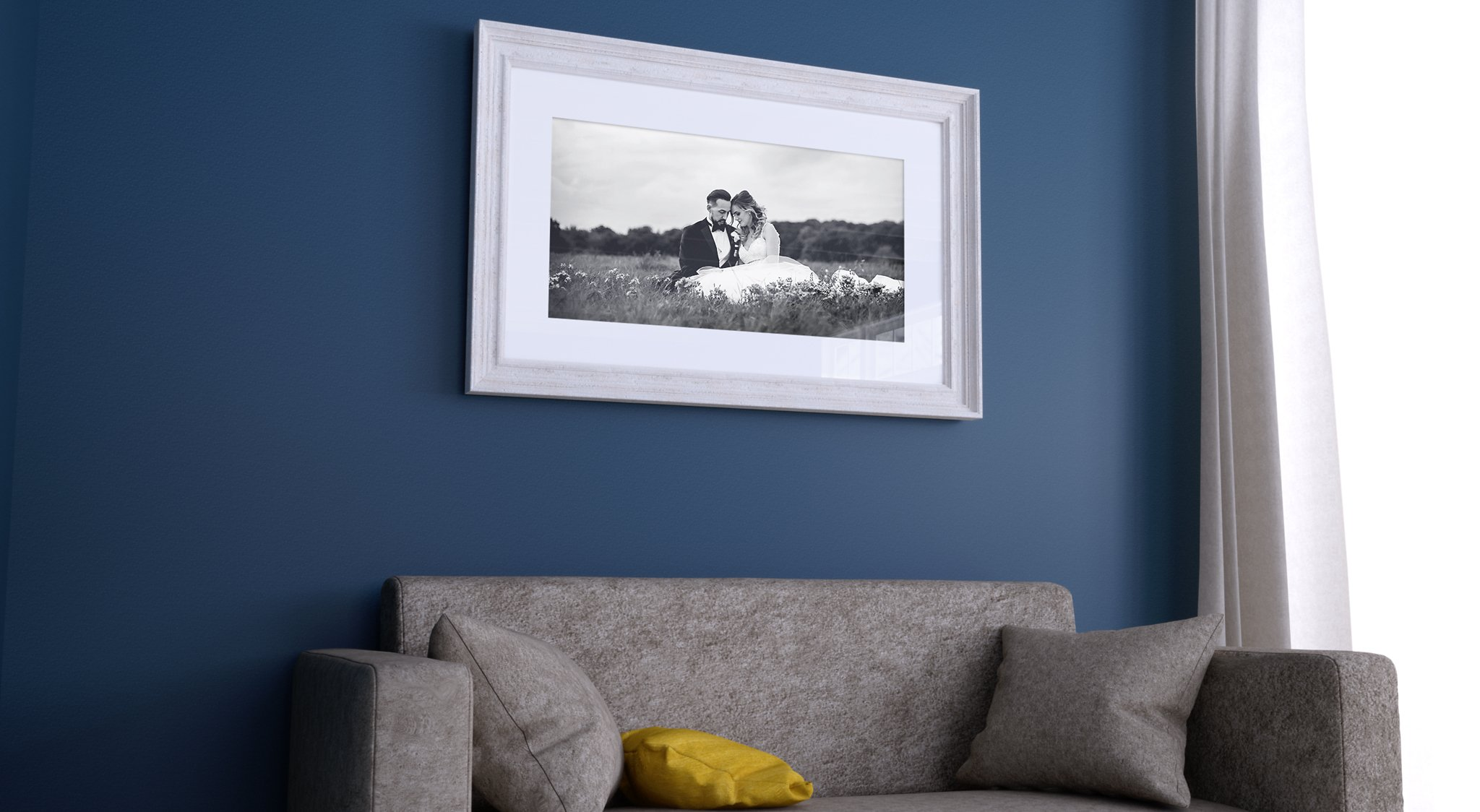 Framed wedding print in home to illustrate hoot use wedding photos for advice blog by esme robinson
