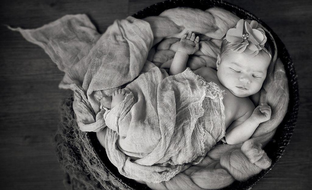 newborn shoot baby portrait photography baby in basket